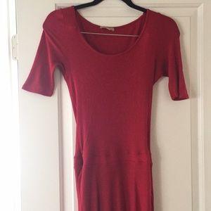 Anthropologie Bordeaux Red Jersey Hi Low Dress S